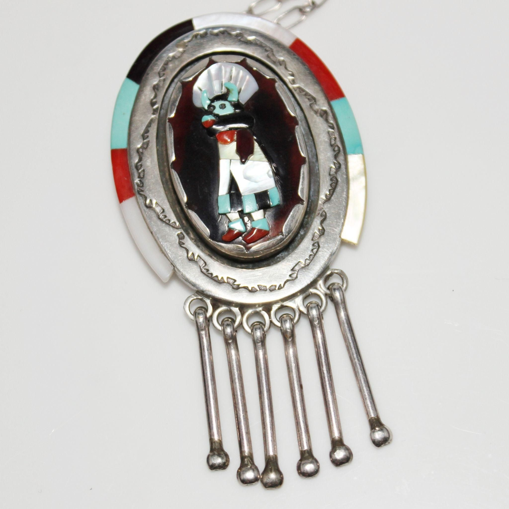 Vintage ronnie olivia calabaza zuni indian inlay cow or bull vintage ronnie olivia calabaza zuni indian inlay cow or bull kachina dancer necklace pendant mozeypictures Image collections