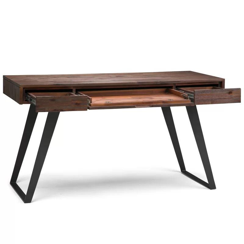 Midway Solid Acacia Wood Desk Acacia Wood Desk Wood And Metal Desk Solid Wood Desk