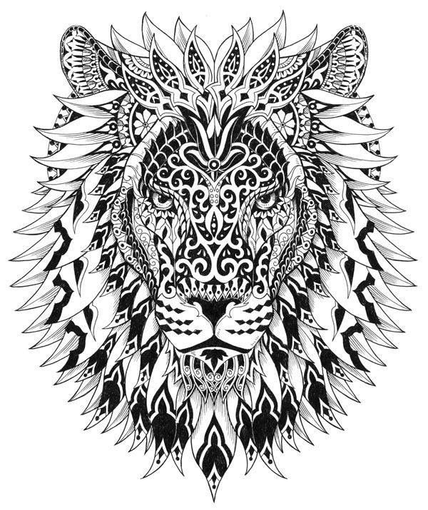 Lion Head Coloring Pages For Adults. lion 2  Big cat coloring pages Pinterest Lions Tattoo and