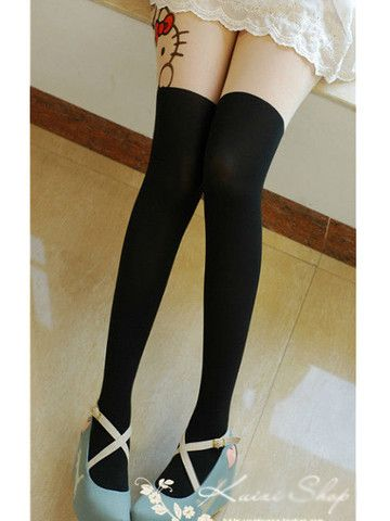 kitty mock thigh-high tights at asianicandy