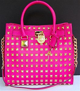 Bag �� Michael Kors Large Hamilton Pyramid Stud Saffiano Leather Satchel Tote  Zinnia | eBay