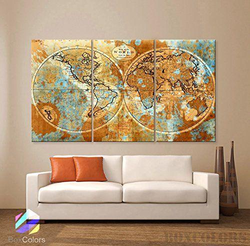 Large 30x 60 3 panels 30x20 ea art canvas print original world map large 30x 60 3 panels 30x20 ea art canvas print original world map gumiabroncs Choice Image