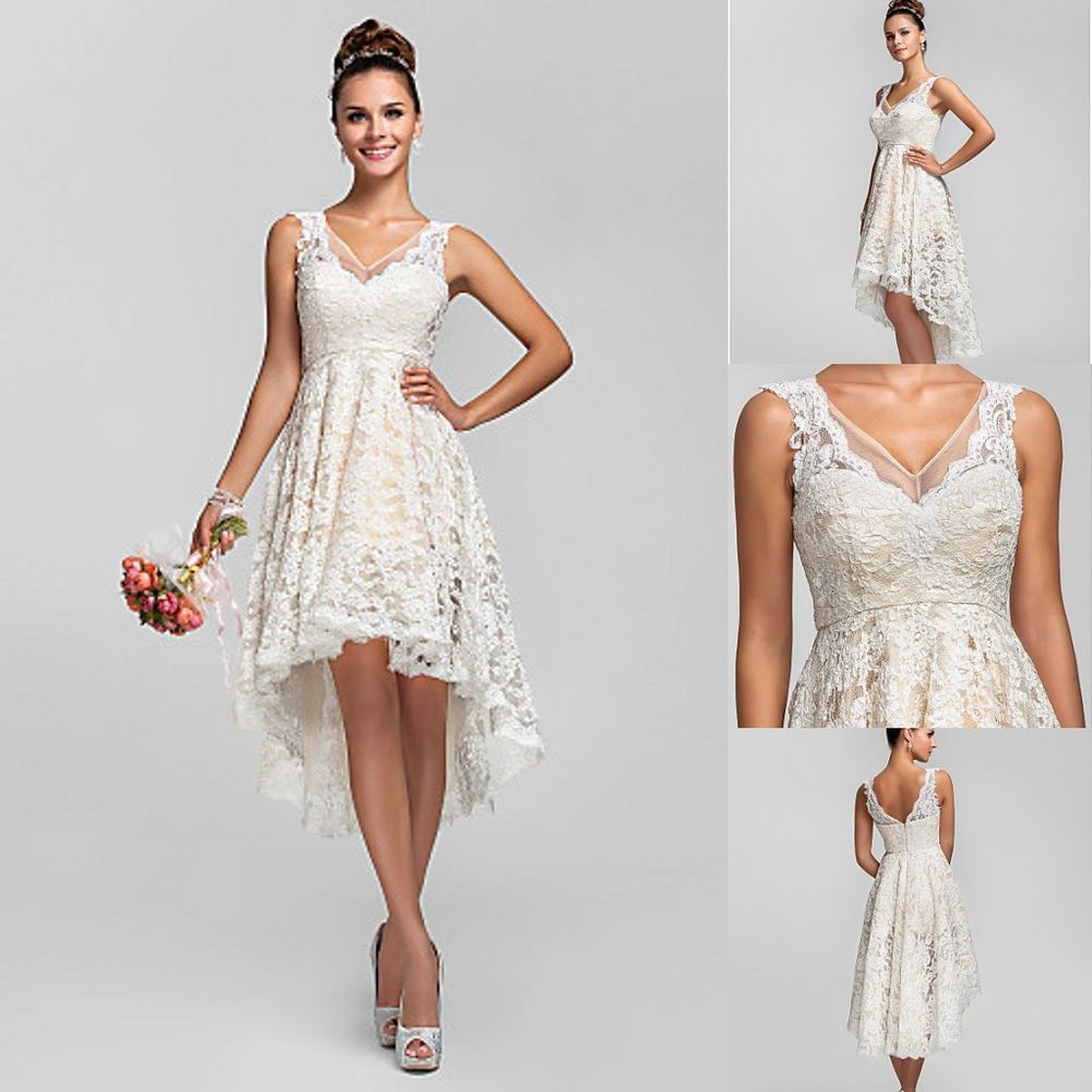 Ivory lace wedding dresses bride gowns hi lo a line us 2 4 for Hi lo hemline wedding dresses