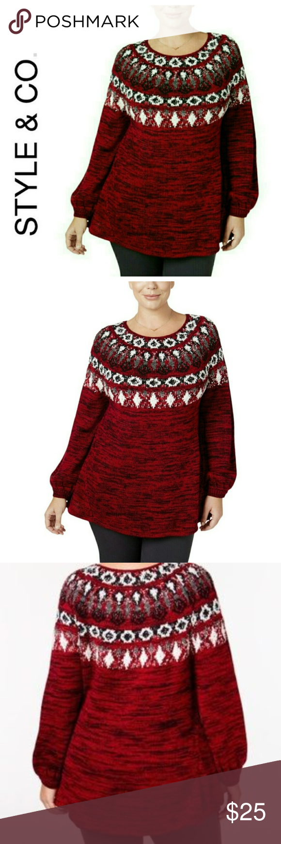 204775fb3e9 Coming soon STYLE  amp  CO Red Fair Isle Sweater NWT  70 1X Style  amp