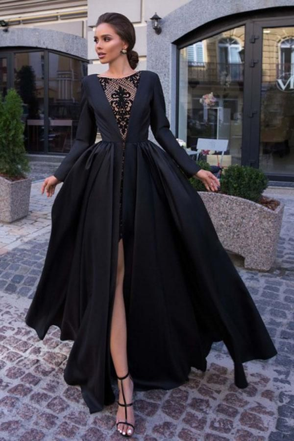 A Line Round Neck Long Sleeves Black Long Prom Dress Okk61 Aksamustu Giysileri Elbiseler Elbise Dugun