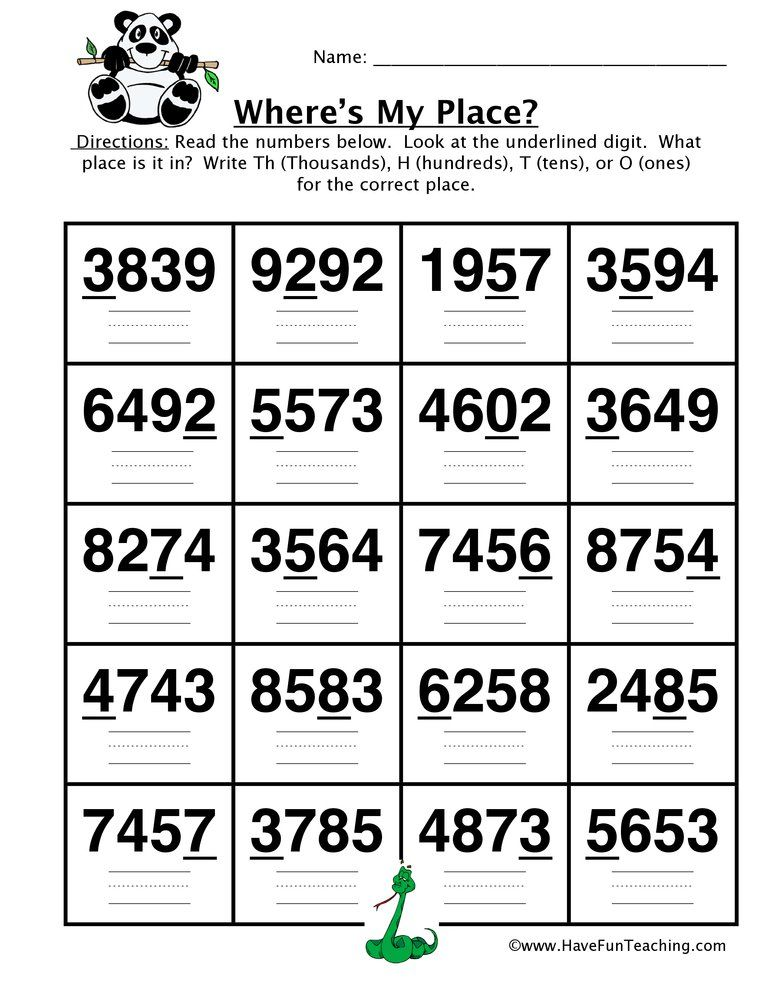 Converting Four Digit Place Value Worksheet Place value