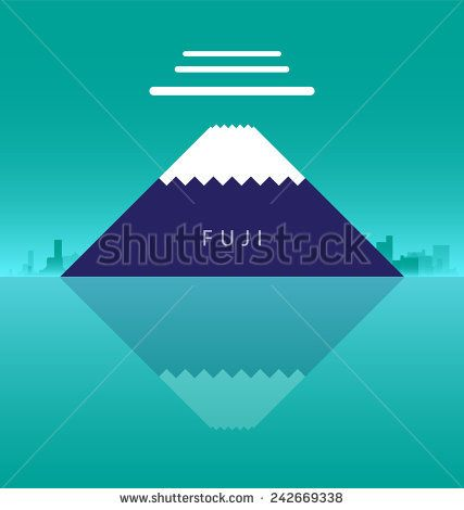 Flat fuji mountain in japan page decoration. vector illustration