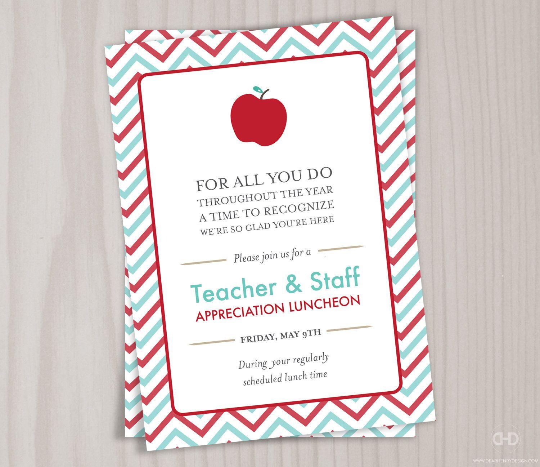 Teacher Appreciation Invitation Printable Teacher Thank You Card