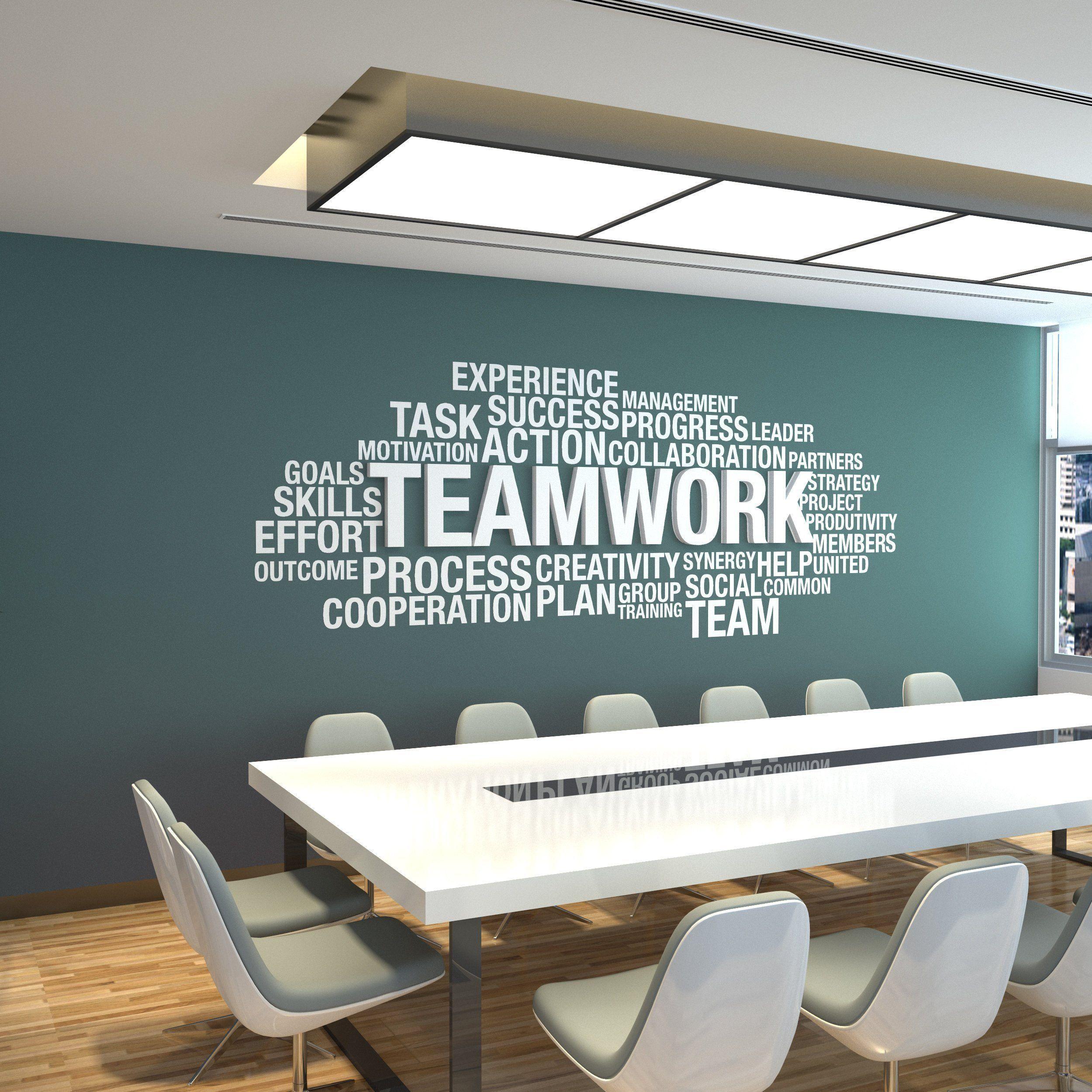 Office Wall Art Office Decor Office Wall Office Wall Decor Teamwork Dimensional Teamwork 3d In 2020 Office Wall Design Corporate Office Design Office Wall Decor