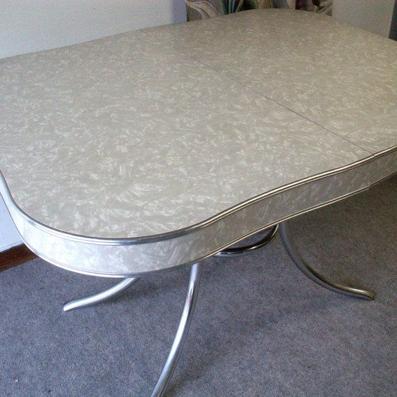 Vintage 1950's Formica And Chrome Kitchen Table. Ate All