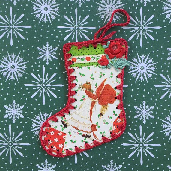 Vintage Holly Hobbie Crochet Stocking Ornament by ShoeFlower