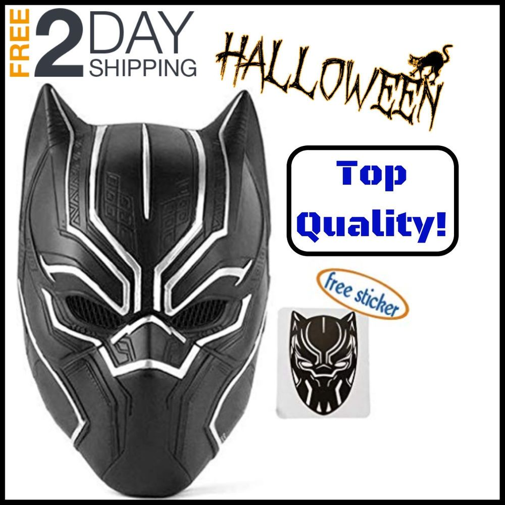 Details about highquality black panther latex mask overhead helmet