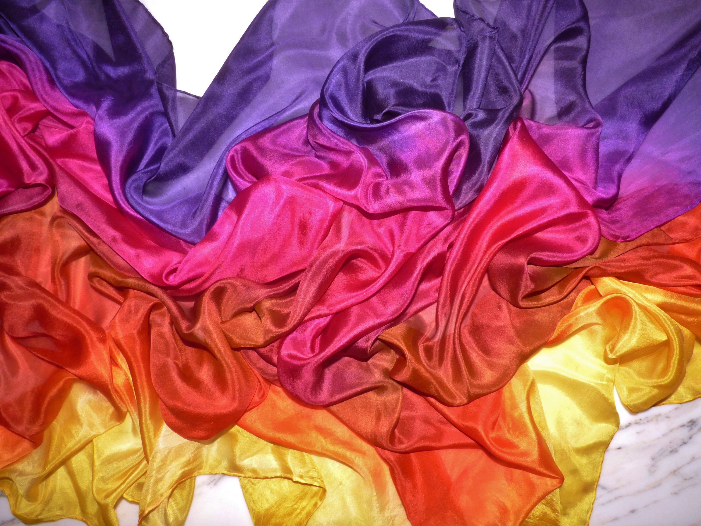 Belly Dance Silk Veil Deep Purple and Rust