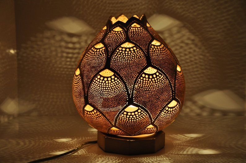 Pineapple Handmade Gourd Lamp Shade Calabash Vintage Etsy Gourd Lamp Gourds Lamp
