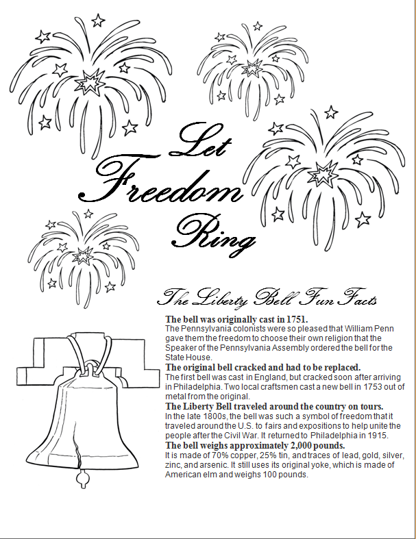 4th Of July Liberty Bell Coloring Page Free Printable Liberty