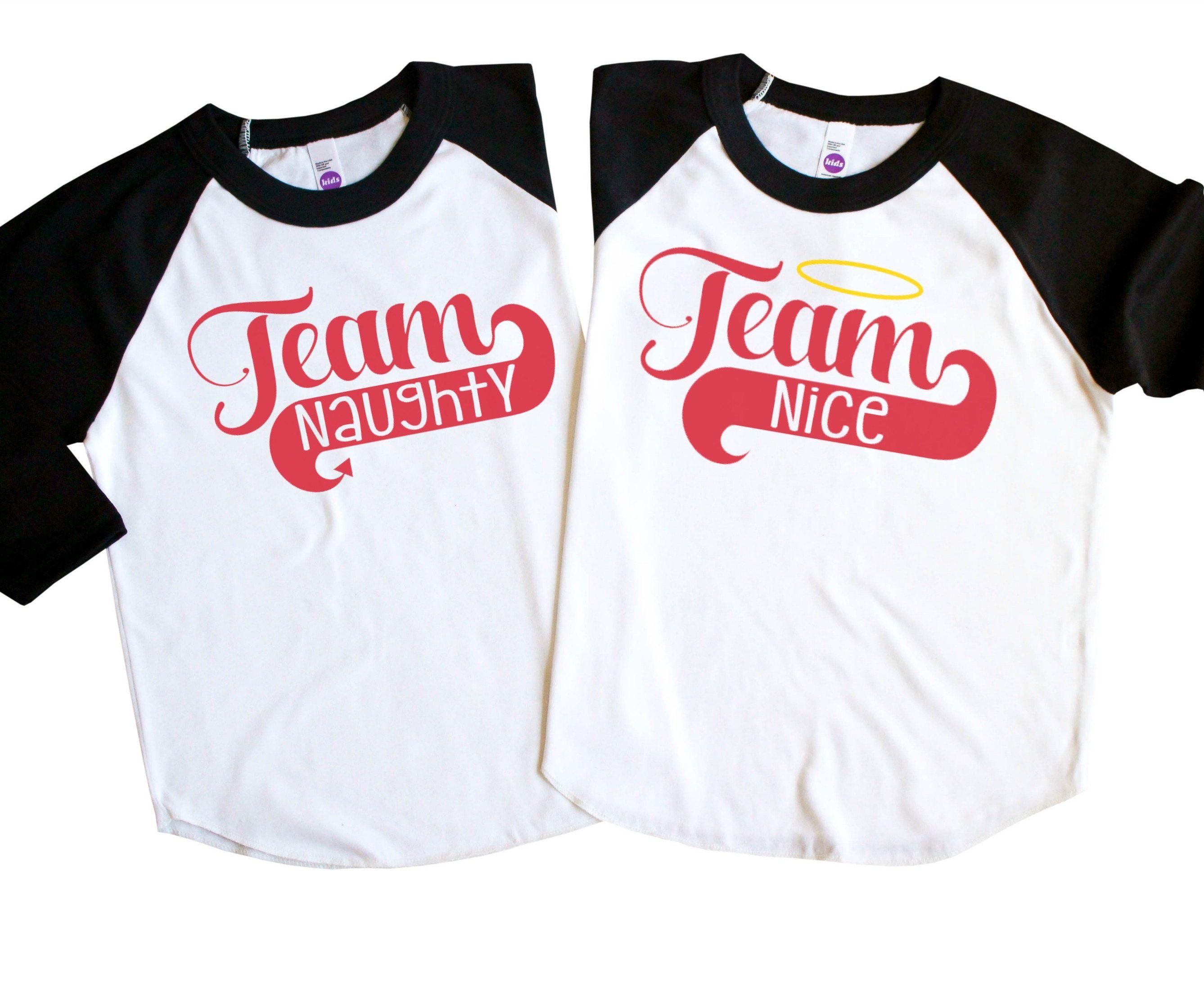 8ef55a59ba Sibling Christmas Holiday Shirts - Naughty and Nice Kids Shirts - Team  Naughty Team Nice Shirts - Twin Holiday Shirts - Brother Sister Tees by ...