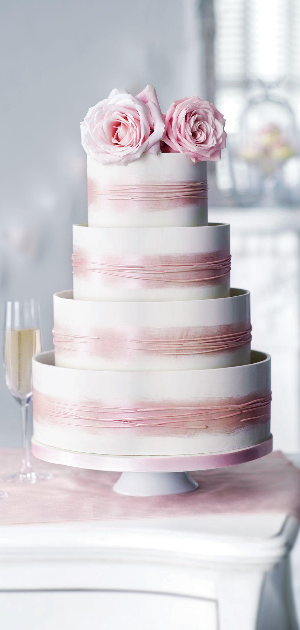 Shimmering Hoop Chocolate Wedding Cake (White & Pink) - Serves 110 ...