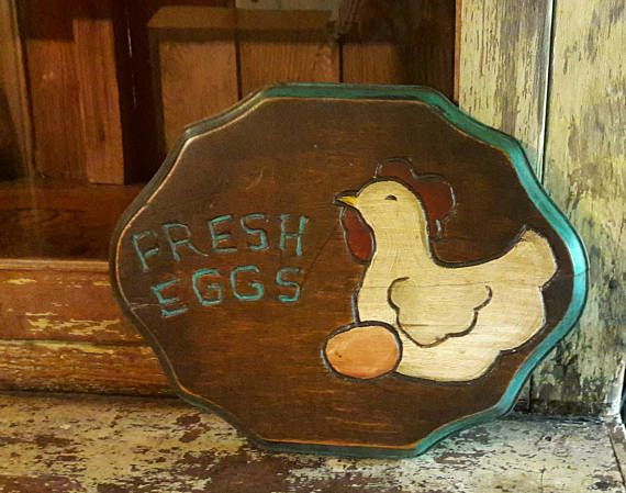 TIN Sign Hen House Cottage Farrm Eggs Chicken Coop Rustic Decor