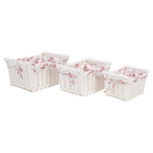 Superior Buy Tesco White Wicker Lined Baskets With Wooden Handles From Our Storage  Baskets U0026 Bags Range At Tesco Direct. We Stock A Great Range Of Products At  ...