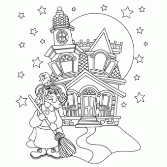 Witch Castle Free N Fun Halloween From Oriental Trading Witch Coloring Pages Printable Christmas Coloring Pages Halloween Coloring