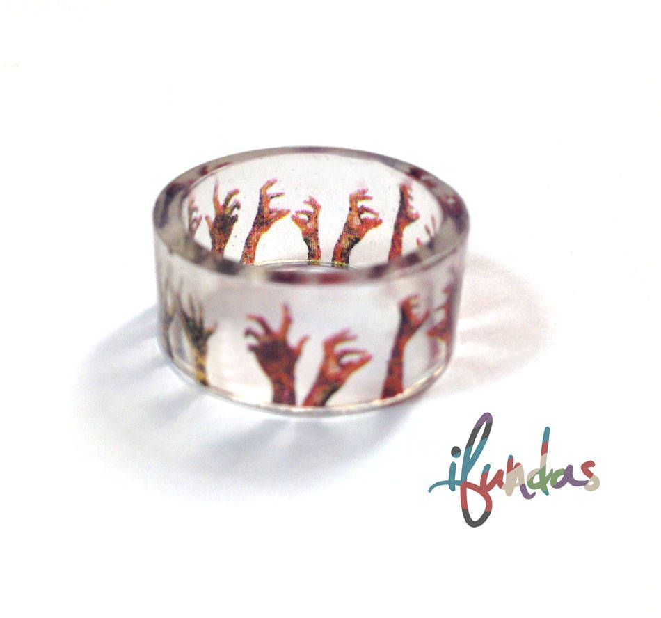 Zombie Ring Hand Made Resin Walking Dead Clear Ring by ifundas on Etsy