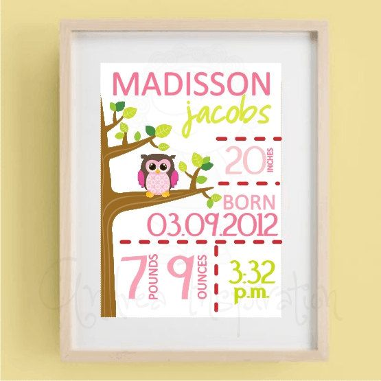 nursery decoration Personalized Birth Announcement owl wall – Personalized Birth Announcement