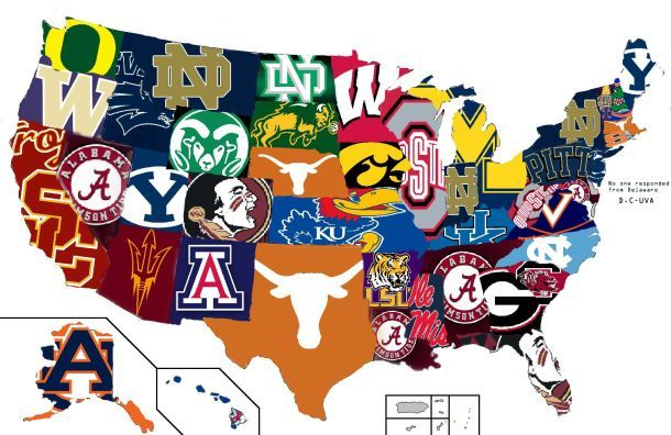 College Football Hate Map Is Confusing College Football - Us map of college football teams