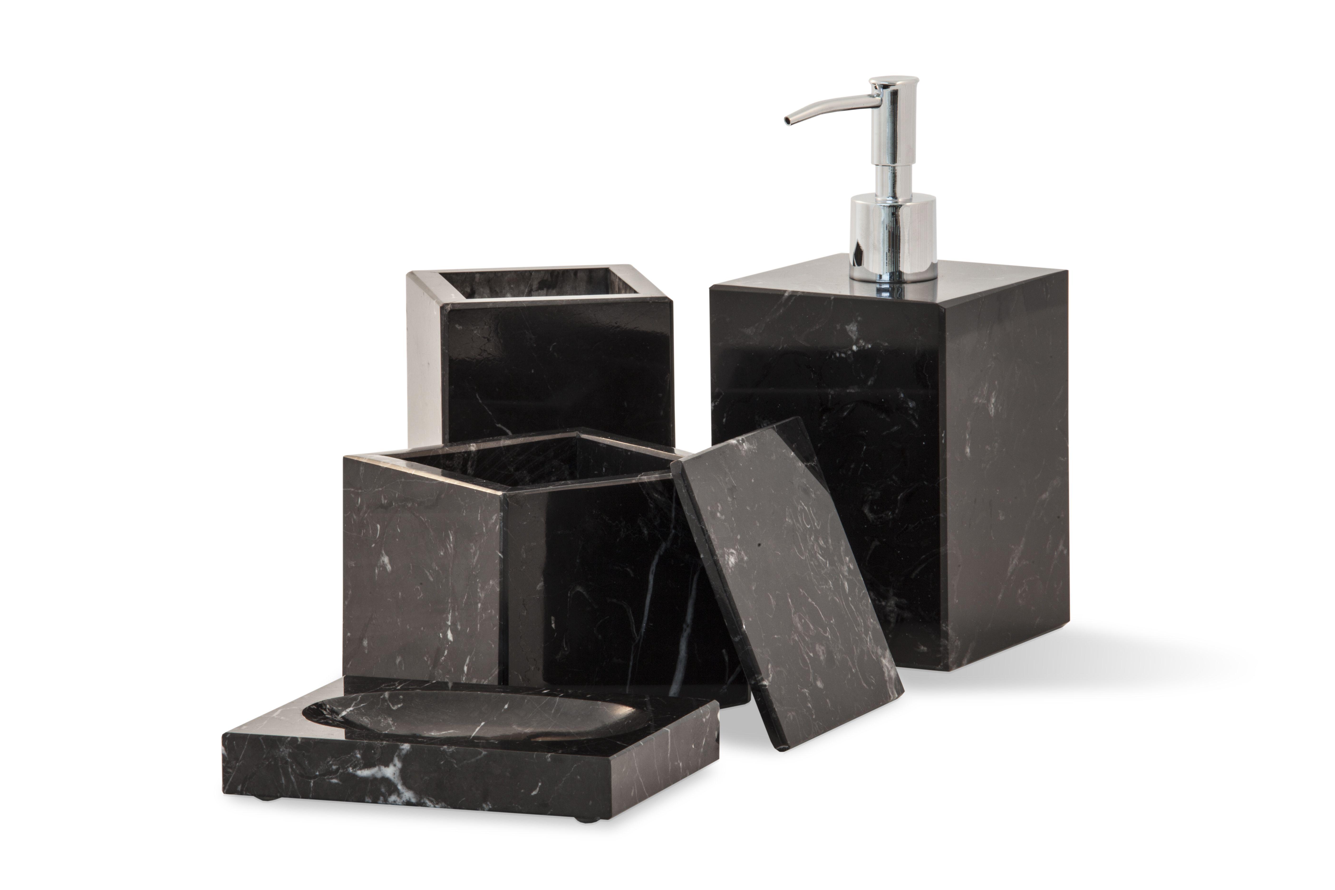 Black marble bathroom set soap dispenser soap dish - Black marble bathroom accessories ...
