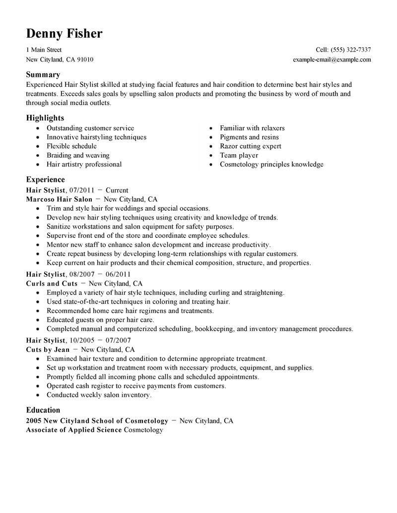 sample hair stylist resume