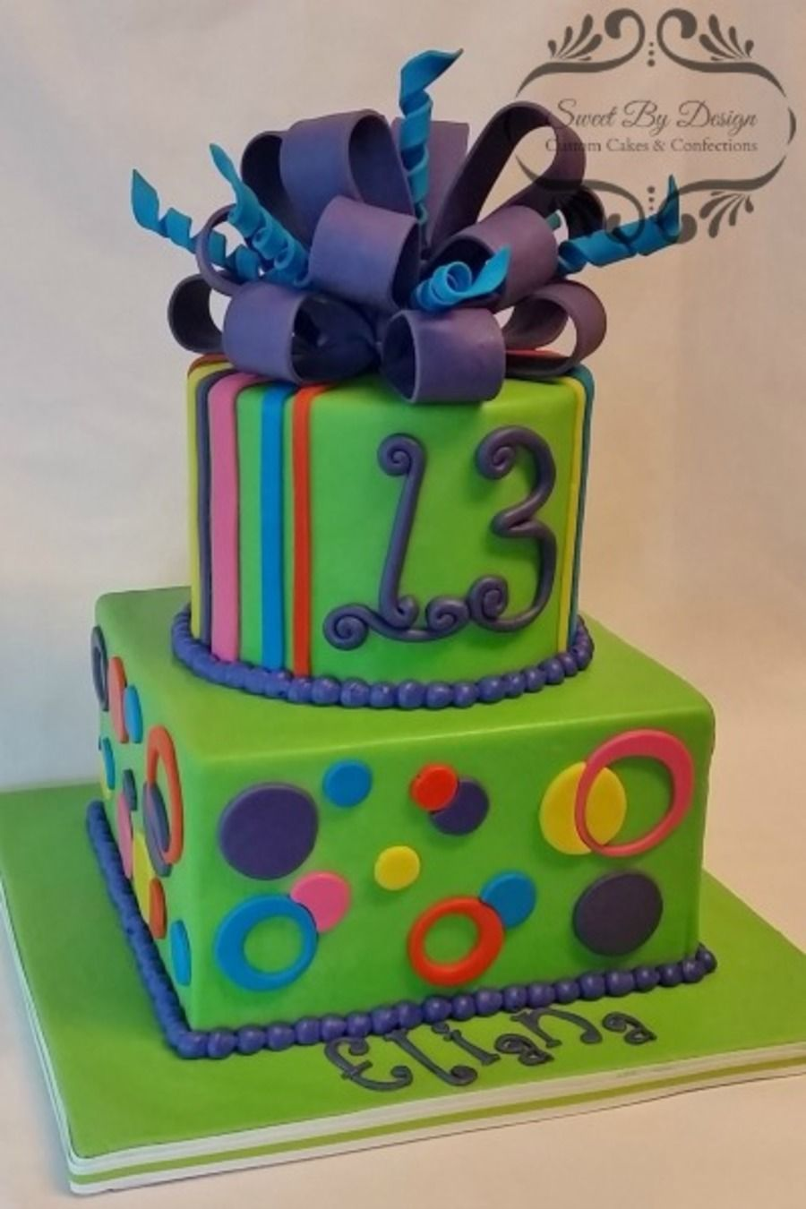 Neon dots and stripes birthday