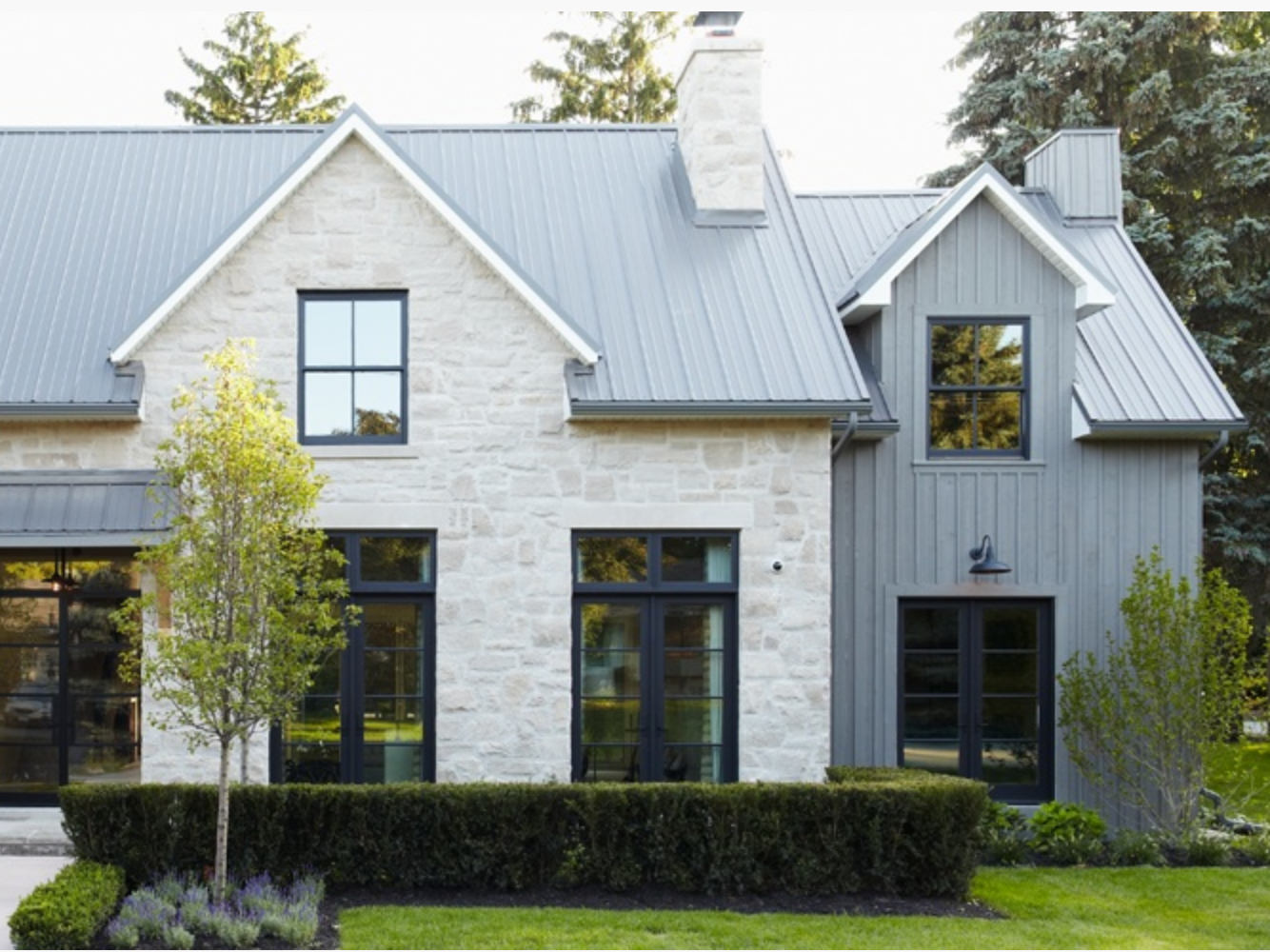 Black or dark grey windows and gutters on a white house for Black and white house exterior design