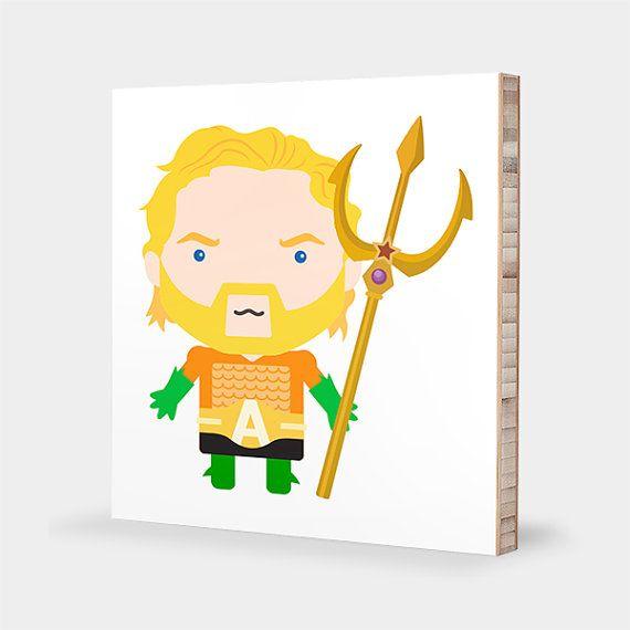 A for Aquaman : ABC Block Bamboo Wall Art Series // Alphabet Kids ...
