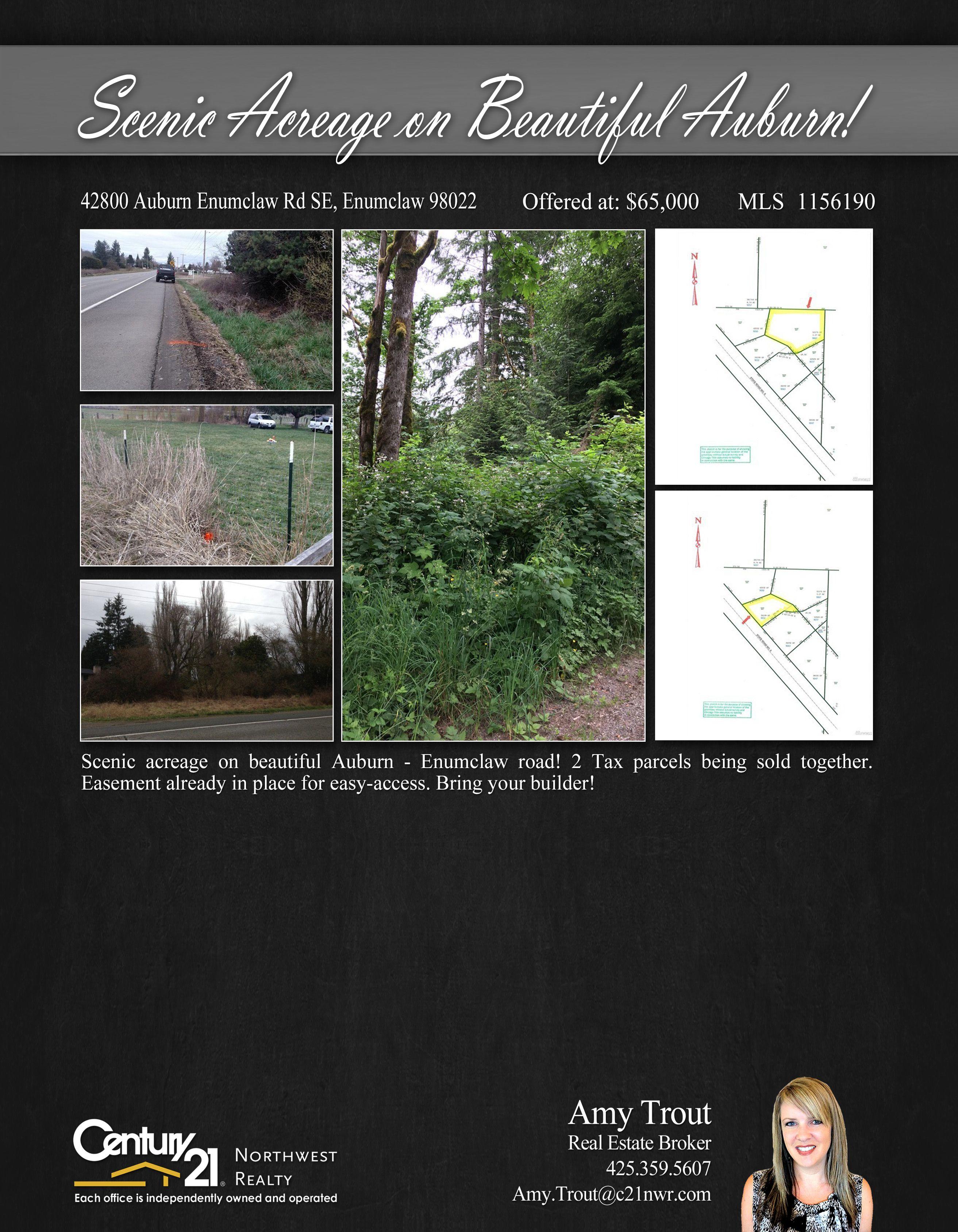 PRICE CHANGE Scenic acreage on beautiful Auburn Enumclaw road