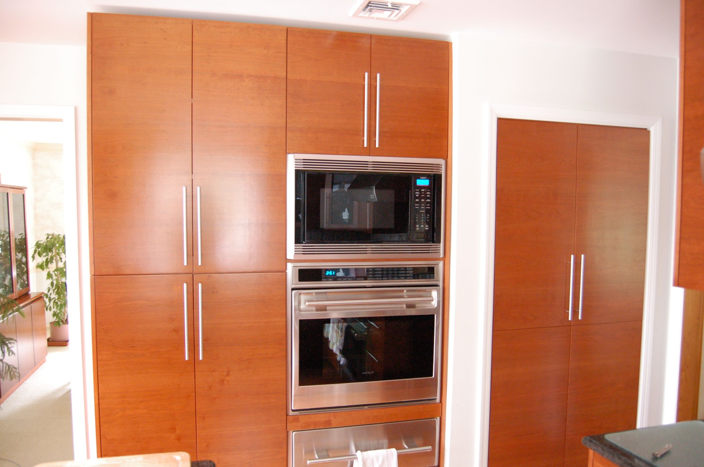 CONTEMPORARY BUILT IN KITCHEN- made the existing pantry closet doors match the rest of kitchen for a sleek look.