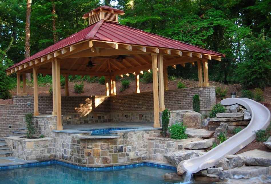 Decoration Picturesque Gazebo Outdoor Decoration With Red Roof And Wooden Pole Also Brick With Swimming Pool How To Build A Pool Gazebo Pergola Garden Gazebo