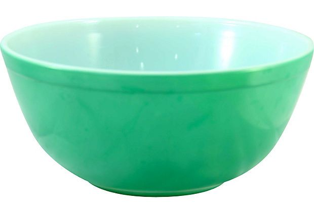 1960s Large Green Pyrex  Bowl w/ white interior Marked:403 2.5 Qt; Trade Mark Pyrex Made in the USA $59 - Sold 8.75W x 4H on OneKingsLane.com