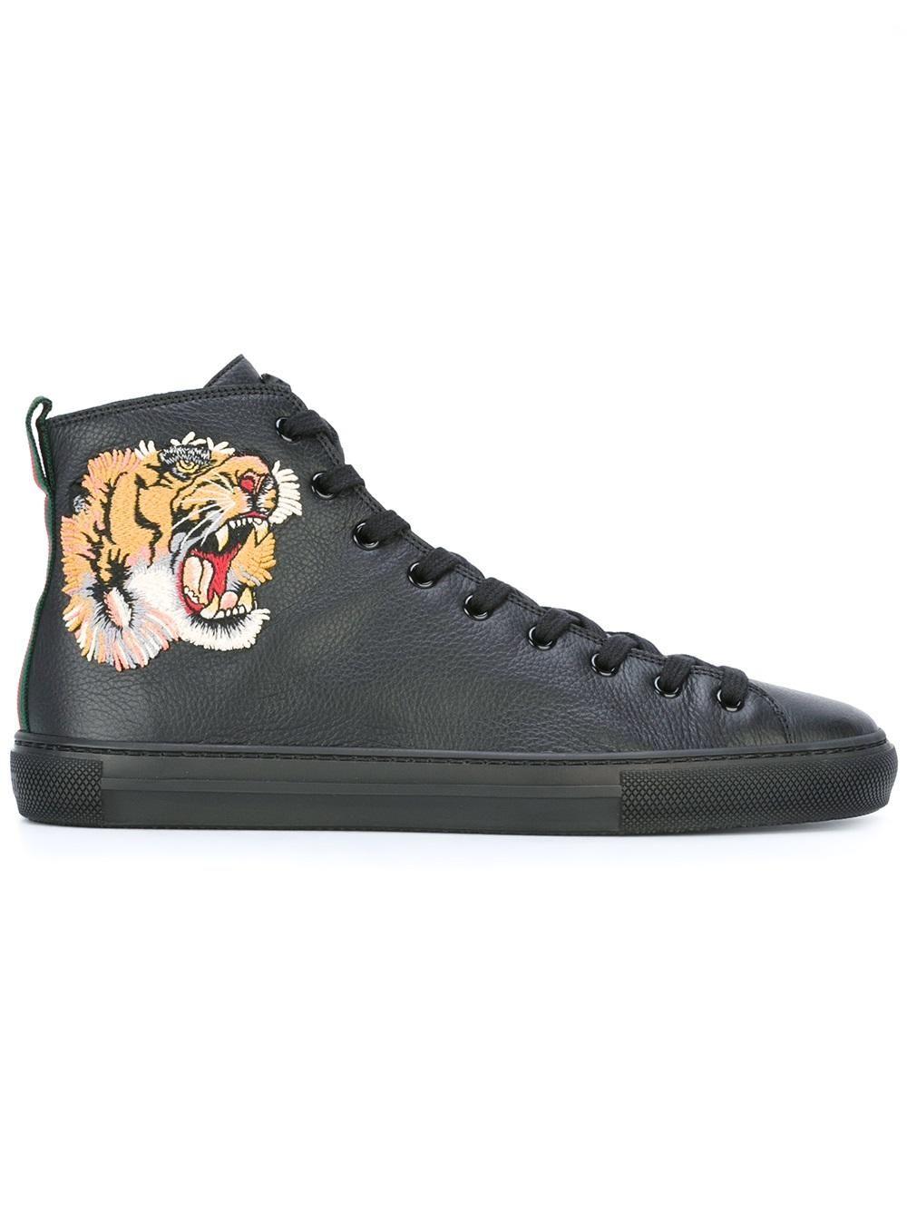 Gucci Zapatillas Altas Con Motivo De Tigre  221e8c6fe40