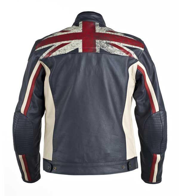 Men/'s Biker Vintage Style Cafe Racer Biker Leather Jacket with Union Jack