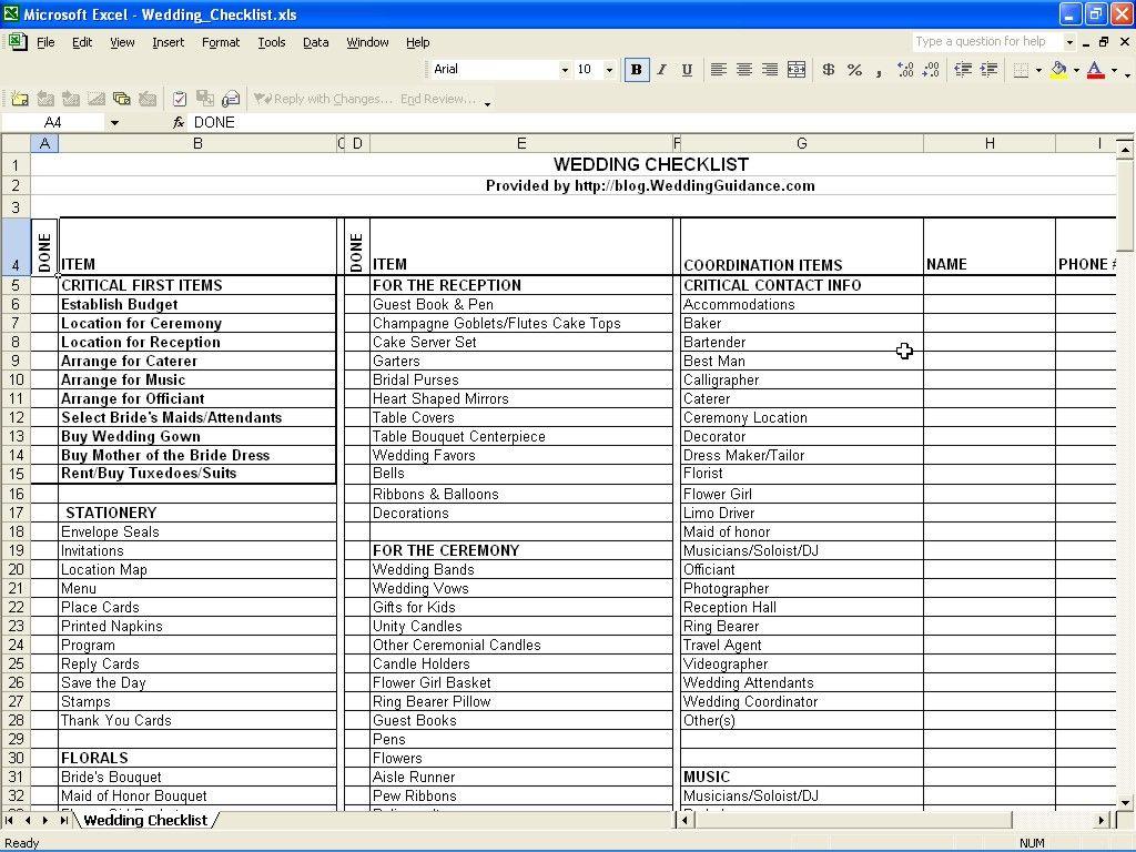 Wedding Checklist 2017