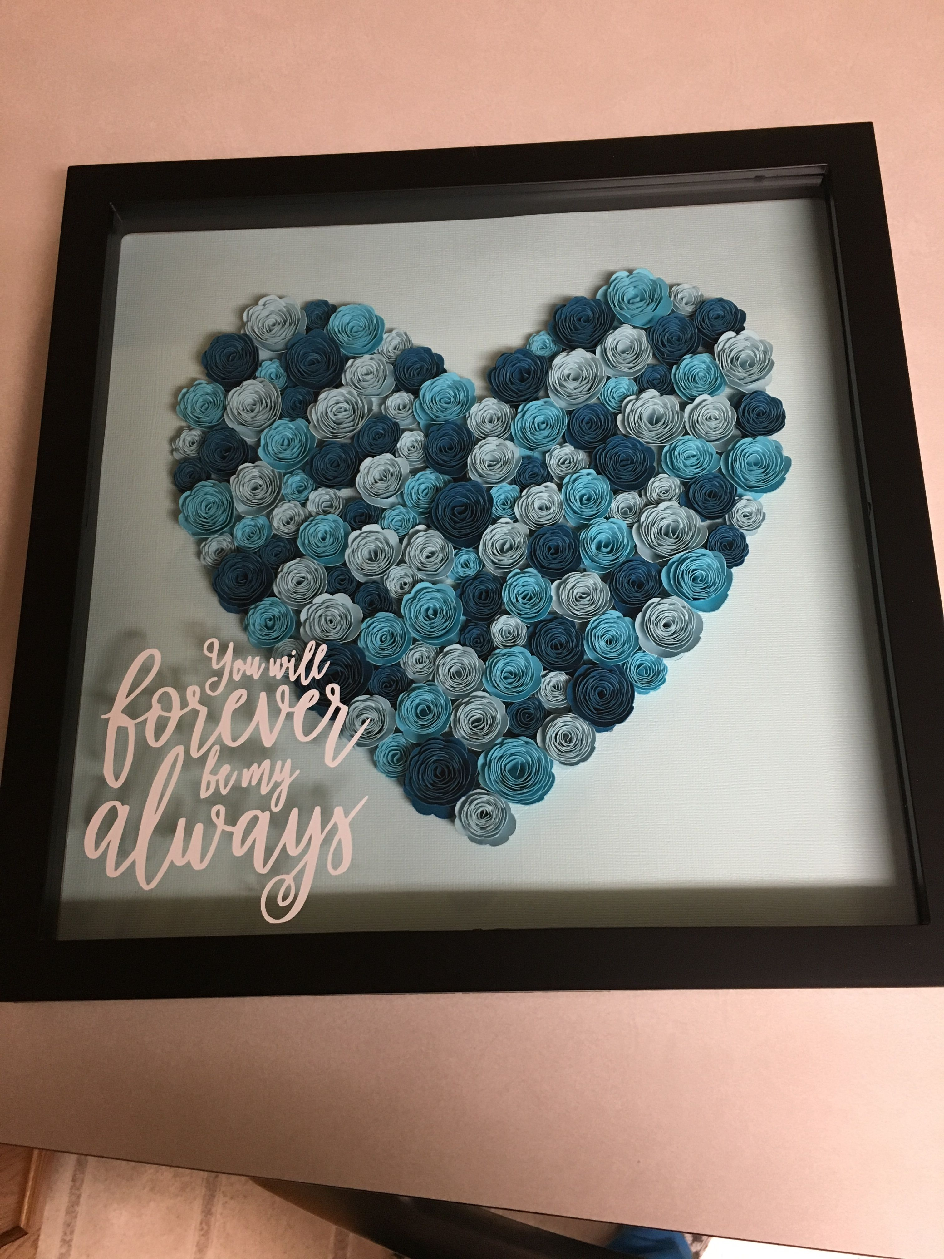 13x13 Shadow Box Filled With Handmade Rolled Flowers Flower