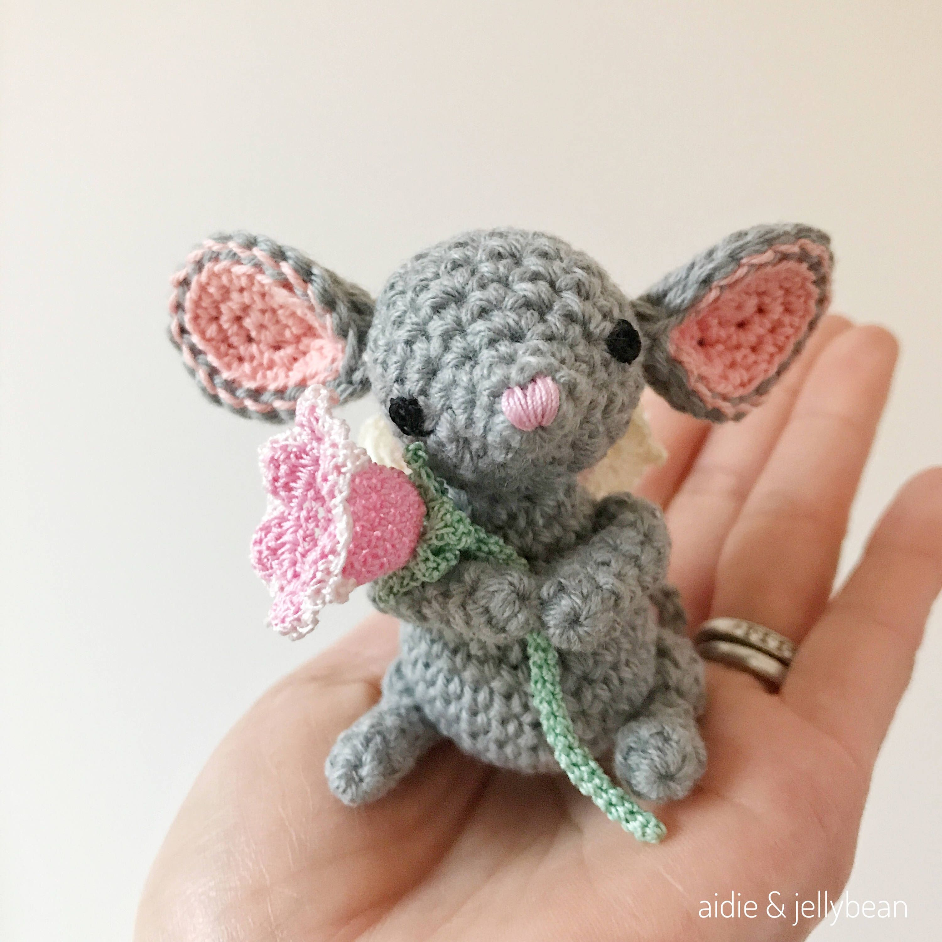 MOUSE FAIRY crochet amigurumi with bell flower, crochet mouse ...