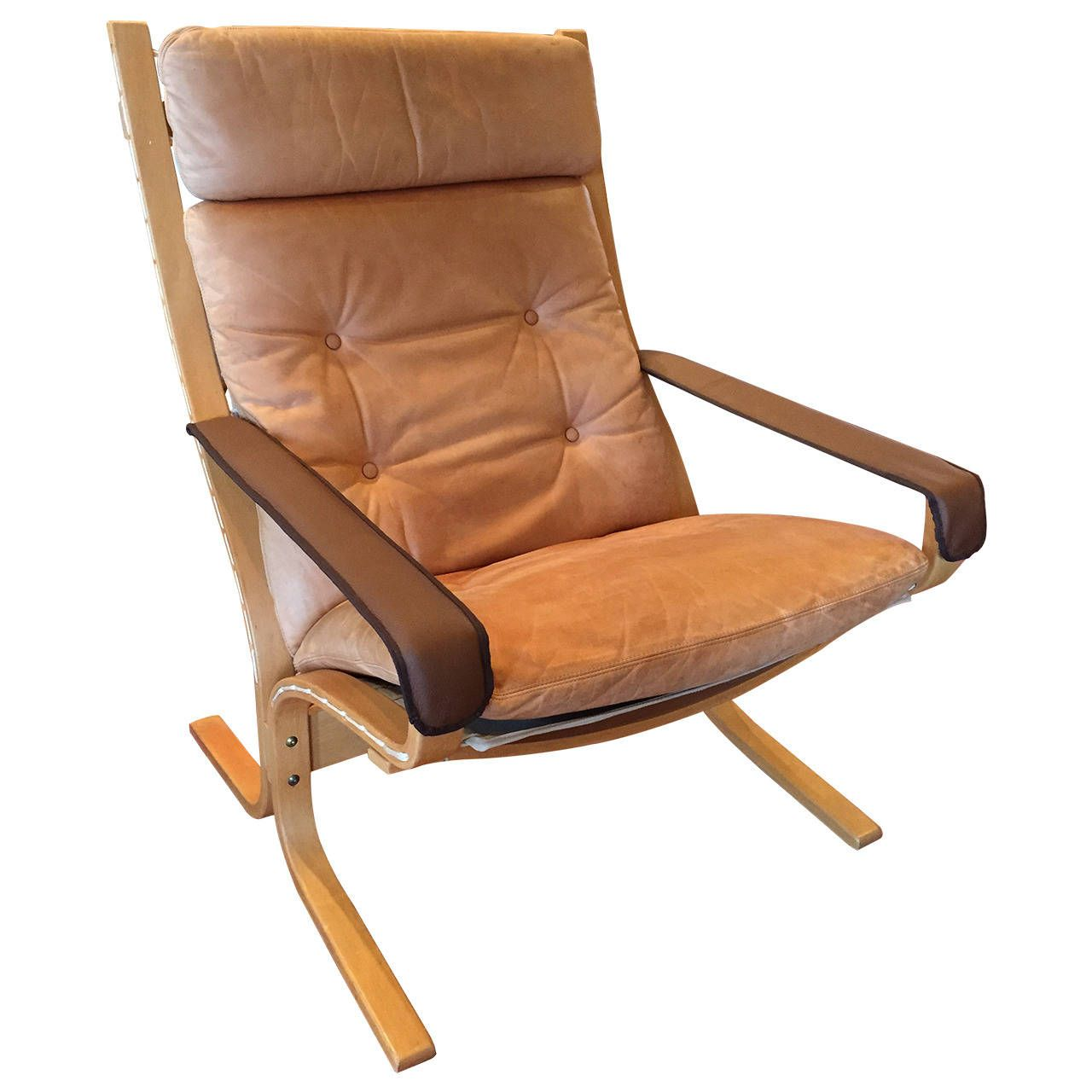Antique lounge chairs - Ingmar Relling High Back Leather Siesta Chair