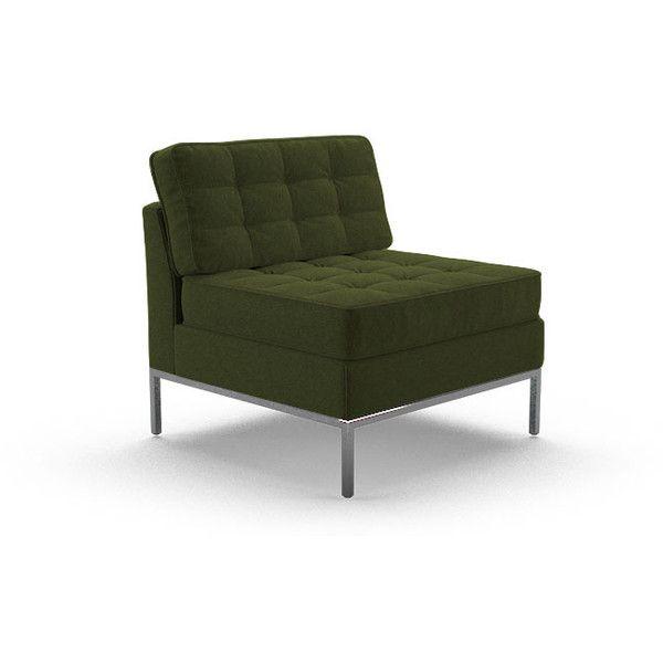 Franklin Mid Century Modern Green Armless Chair 1 455 Aud