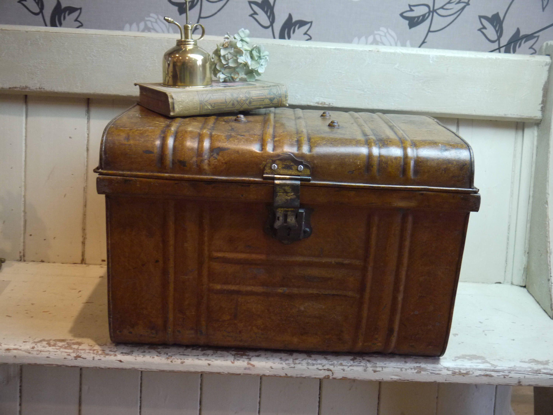 Vintage Travel Trunk   Vintage Tin Trunk   Antique Trunk   Storage Trunk    Vintage Metal