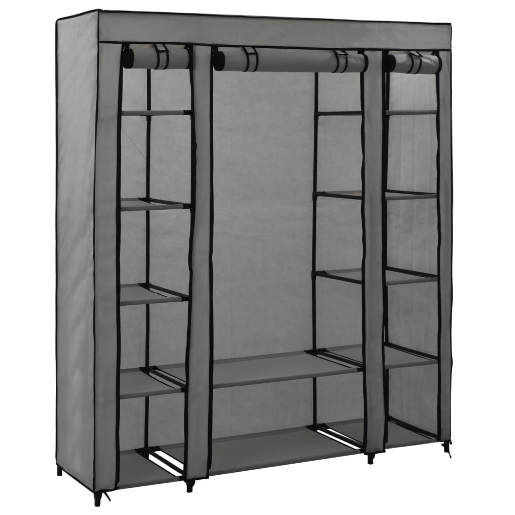 vidaXL Wardrobe with Partitions and Bars Gray 150x45x176 cm …