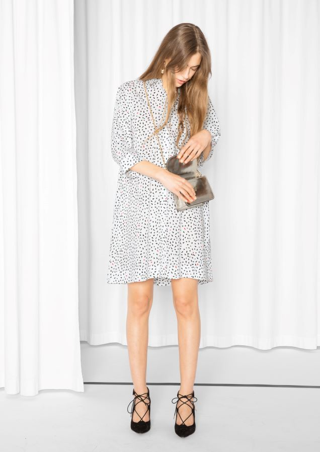 & Other Stories Petite Hearts Dress  in Petite hearts/white