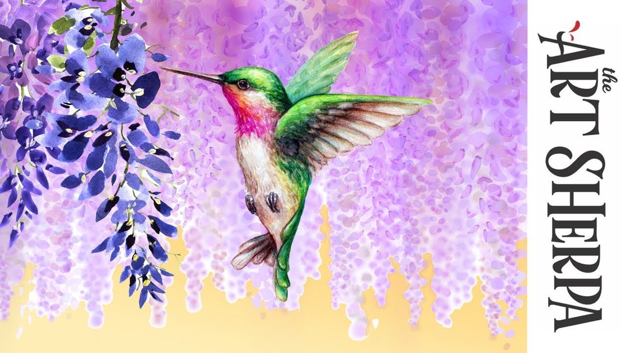 How to paint with Acrylic on Canvas Wisteria Hummingbird Dream - YouTube | Hummingbird  painting, Hummingbird painting acrylic, Painting art lesson