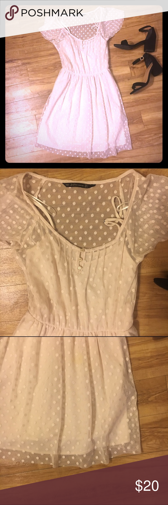 Zara Trafaluc Collection Dress Cream polka dot dress, worn once and in perfect condition. Sheer with cream lining. Zara Dresses Midi