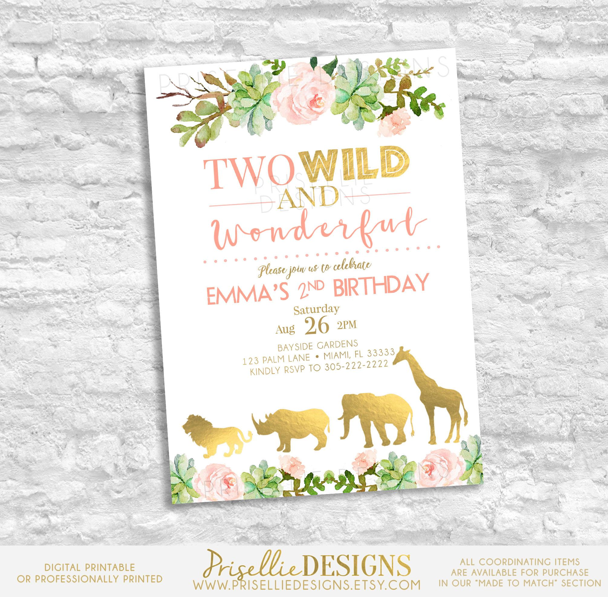 Second Birthday Invitation Two Wild And Wonderful Birthday