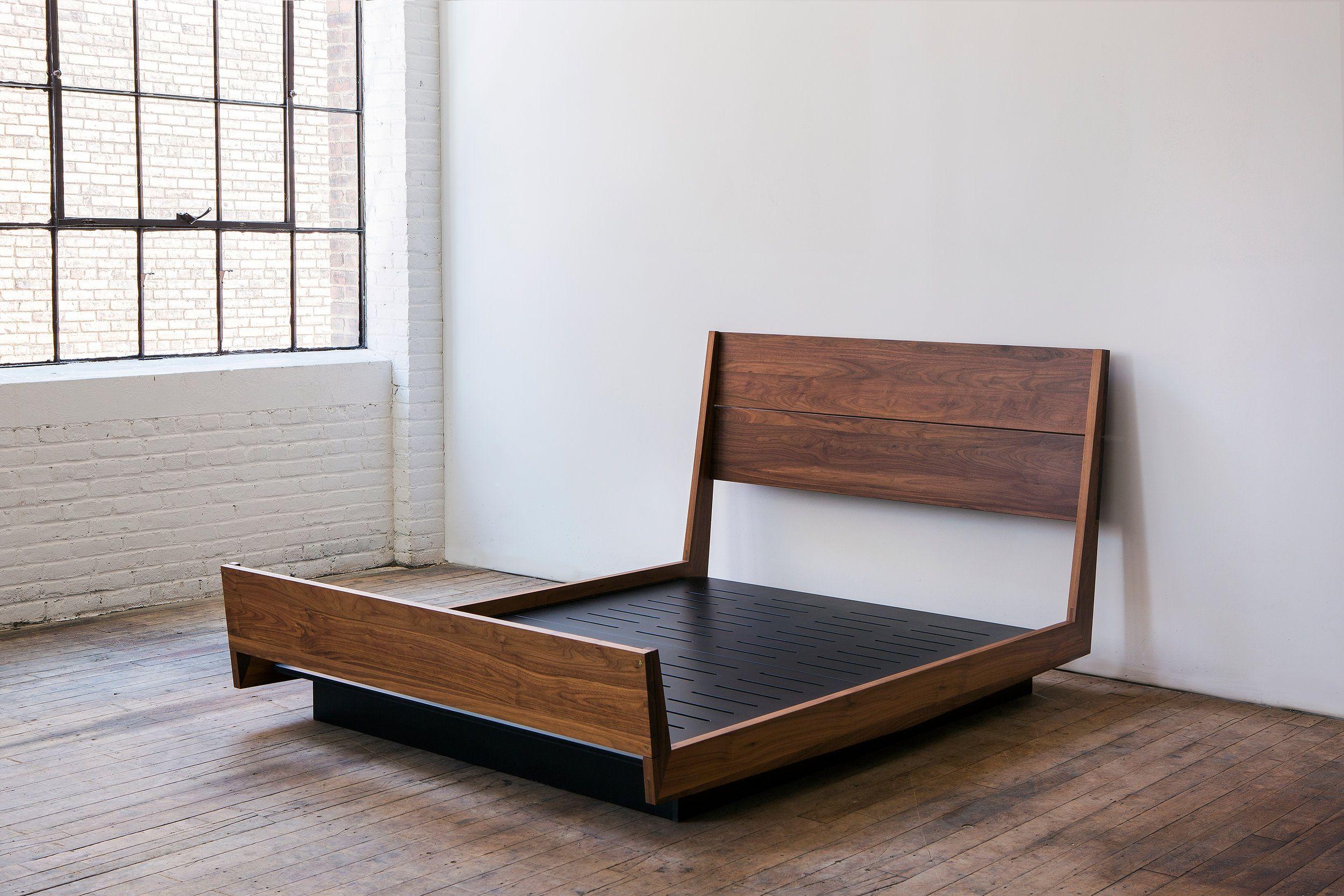 ab5 solid walnut platform bed Hardwood bed, Floating